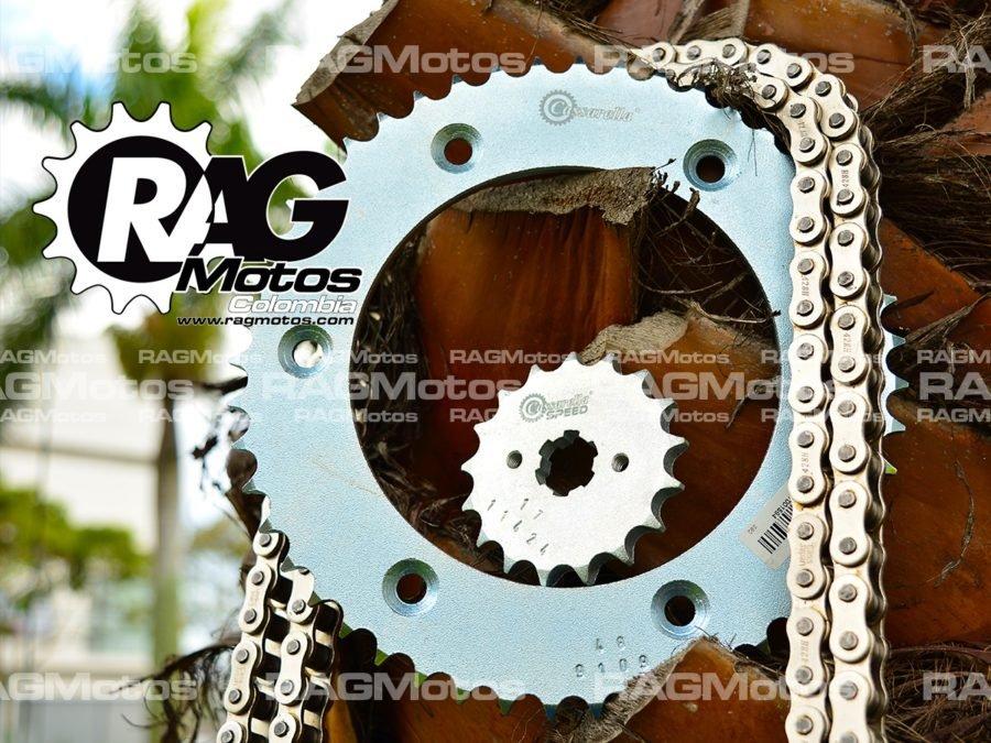 kit racing xr150 L cassarella cadena encauchetada