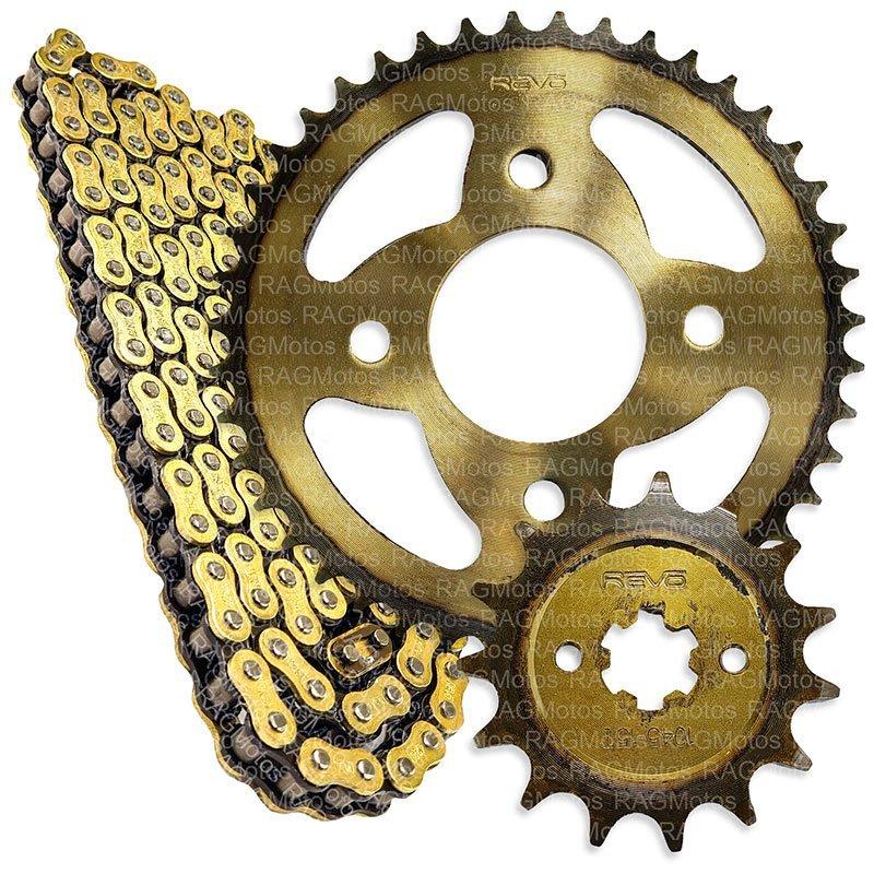 pulsar 135 bajaj kit arrastre original cadena dorada reforzada encauchetada